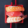 Japanese seafood sushi and chopstick   — Stock Photo