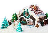 Gingerbread house and candy for the holiday merry christmas — Stock Photo