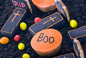 Homemade Halloween cookies and a selection of sweets — Stock Photo