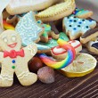 Stock Photo: Smiling gingerbread mand Christmas