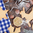 Baked Christmas cookies, forms, and nuts — Stock Photo