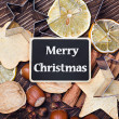 Merry Christmas and facilities for making cookies — Stock Photo #34138899