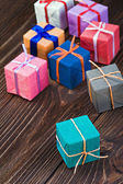 Gift boxes in a colorful package — Photo