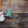 Christmas gingerbread cookies hanging — Stock Photo