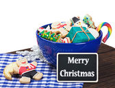 Christmas cookies and a blackboard — Stock Photo