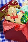 Smiling gingerbread man cookies — Stock Photo