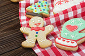 Smiling on the background of Christmas gingerbread — Stock Photo