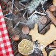 Cooking and baking Christmas cookies — Stock Photo