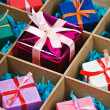boxes with gifts in a wooden box — Stok fotoğraf