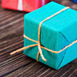 Gift box in a colorful package — Stock fotografie
