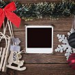 Christmas decorations and old photo frame — Stock Photo