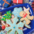 Christmas gingerbread cookies on a plate — Stock Photo #35952295
