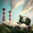 Smoking chimneys polluting the environment — Stock Photo