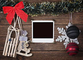 Christmas decorations and old photo frame — Stockfoto