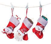 Christmas socks with gifts hanging — Stok fotoğraf