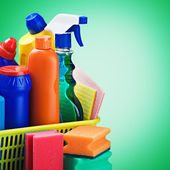 Cleaners supplies and cleaning equipment — Stock Photo