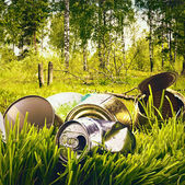 Forest contaminated waste and garbage — Stock Photo