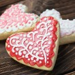 Stock Photo: Heart shaped cookies baked Valentine's Day