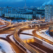 Road junction in the streets of Moscow in winter night  — Stock Photo