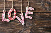 Word love made of cookies Valentine's Day — Foto Stock