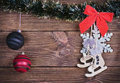 Christmas toys and decorations — Stock Photo