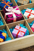 Wooden box with gifts — Foto Stock