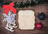 Christmas toys and old Paper — Foto Stock