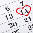 February 14 on the calendar, Valentine's Day red heart encircled — Stock Photo