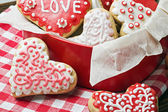 Cookies in a box in the form of baked hearts for Valentine's day — Stock Photo