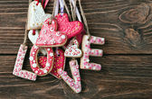 Word love made of cookies Valentine's Day — Stockfoto