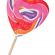 Lollipop on stick in the form of heart — Stock Photo