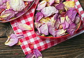 Dried flowers in a red box — Stock Photo
