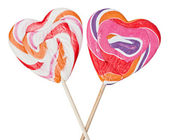 Lollipops on sticks in the form of heart — Stock Photo