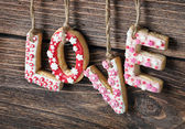 Word love made of cookies Valentine's Day — Stock fotografie