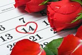 Roses lay on the calendar with the date of February 14 Valentin — Stock Photo