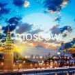 Word Moscow and Moscow Kremlin in the early morning — Stock Photo