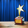 Star award wooden table — Stock Photo