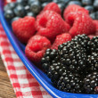 Assorted Fresh berries on a checkered tablecloth — Stock Photo