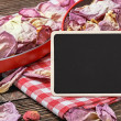Blackboard for the text and dried flowers — Stock Photo