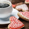 图库照片: Cookies baked on valentines day and cup of coffee