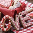 Stock Photo: Word love to bake cookies for the day of Valentine