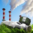 Stock Photo: Smoking chimneys polluting environment