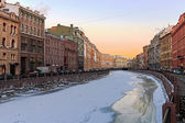 Beautiful sunrise on the river Moika winter. St. Petersburg — Stock Photo