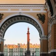 Stock Photo: Winter Palace view through Senate Arch at dawn, St Petersburg