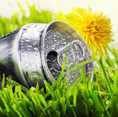 Aluminum can on a green grass — Stock Photo