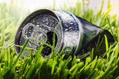 Aluminum cans on a green grass — Stock Photo