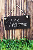 Blackboard with the words welcome — Stok fotoğraf