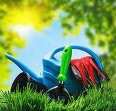 Trädgårdsredskap på gräset — Stockfoto