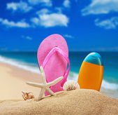 Beach accessories for relaxing in the sand — Stock Photo