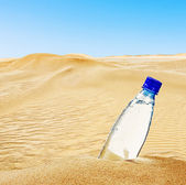 Bottle of mineral water on the sand     — Stock Photo